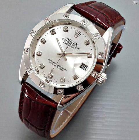 Jam Tangan Rolex Datejust Automatic Kulit / Leather Brown ring Silver