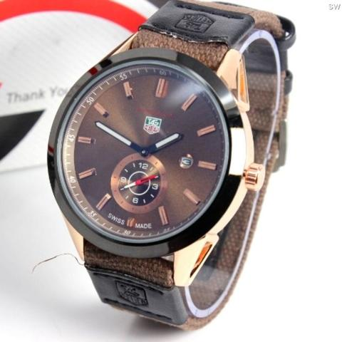 Jam Tangan Tag Heuer Canvas Chrono Detik Brown