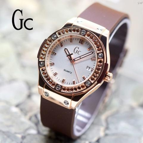 Jam Tangan Wanita / Cewek Murah Gc Diamond Color Rubber Brown