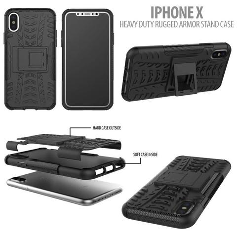 Aksesoris Iphone X - Heavy Duty Rugged Armor Stand Case