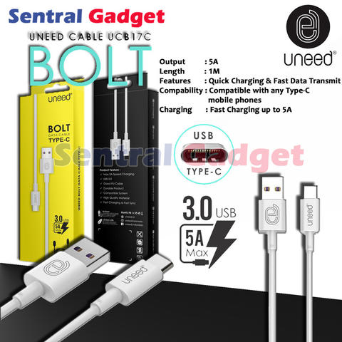 Kabel Data Type C UNEED Bolt Fast Charging 5A & Quick Transfer USB 3.0