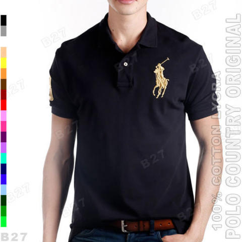 POLO COUNTRY C2-11 Original Kaos Polo Shirt Pria Cotton Lycra Hitam
