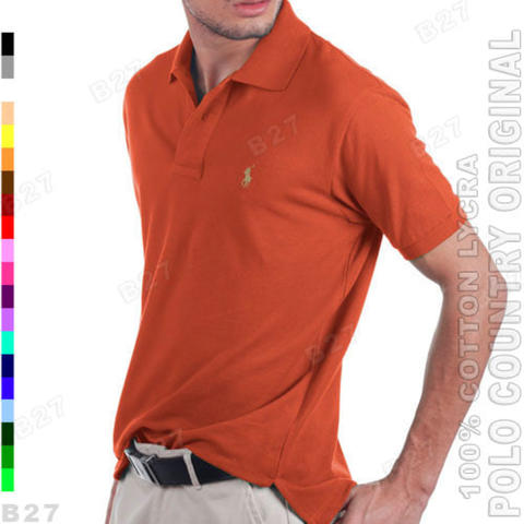 POLO COUNTRY C5-26 Original Kaos Polo Shirt Cowok Cotton Merah Bata