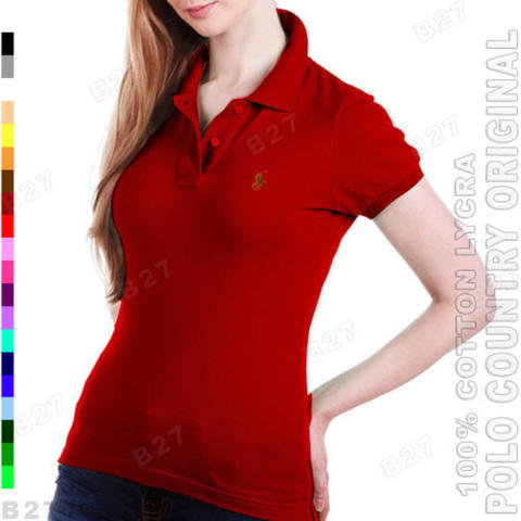 POLO COUNTRY C6-24 Original Kaos Polo Kerah Cewek Cotton Lycra Marun