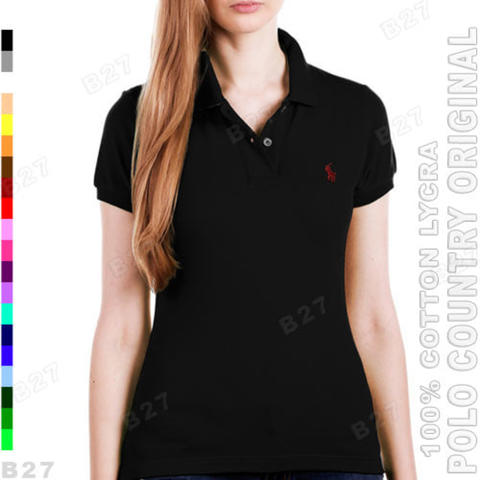 POLO COUNTRY C6-11 Original Kaos Polo Shirt Wanita Cotton Lycra Hitam