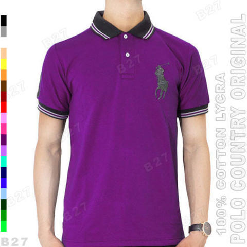 POLO COUNTRY C1-30 Original Kaos Polo Shirt Pria Cotton Lycra Ungu Tua