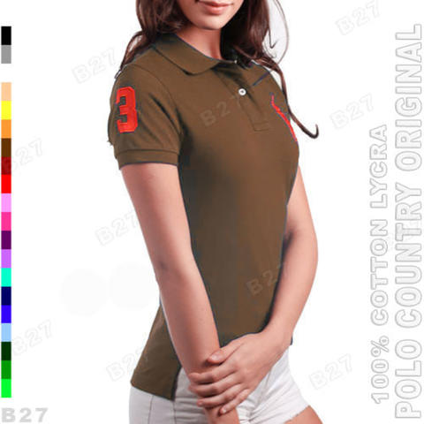 POLO COUNTRY C3-21 Original Kaos Polo Shirt Cewek Cotton Coklat Tua