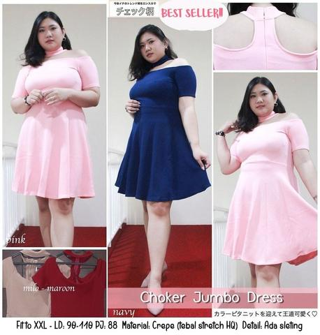 Terjual Dress Jumbo Dress Pesta Xl Xxl Midi Dress Murah Big Size