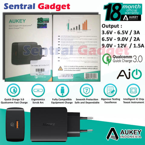 Aukey PA-T17 Amp Wall Charger with Quick Charge 3.0 Fast Charging Garansi Resmi