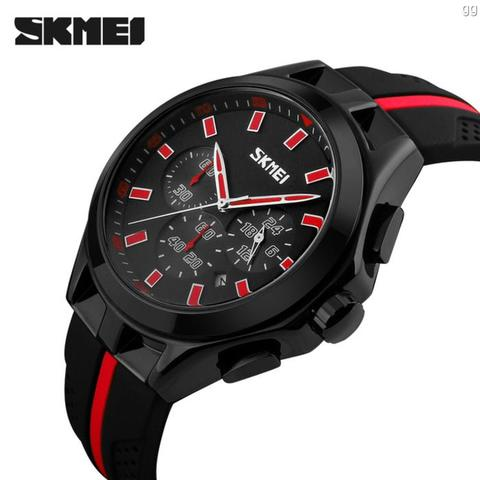 Jam Tangan Pria Casual Original SKMEI 9135 Anti Air 30M - Black Red