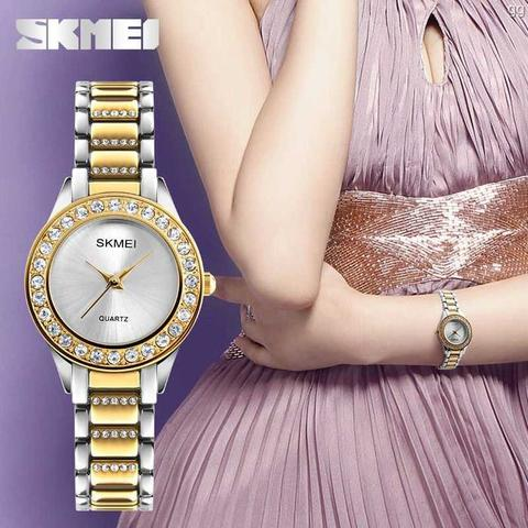 Jam Tangan Wanita Analog Mewah Anti Air SKMEI 1262S Original - GOLD