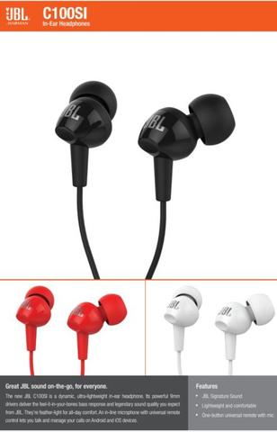 Headphones/Earphone/Headset/Handsfree JBL C100SI for Android/iOS