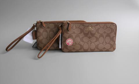Coach Double Zip Phone Wallet Signature Khaki/Saddle