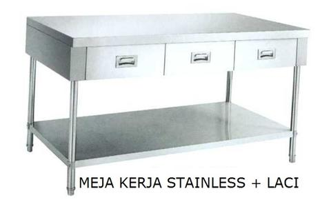 Meja Kerja Stainless Steel Working Table Dapur Komersial Serba Guna