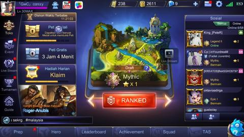 [iOS] Akun MYTHIC mobile legends / tier id char