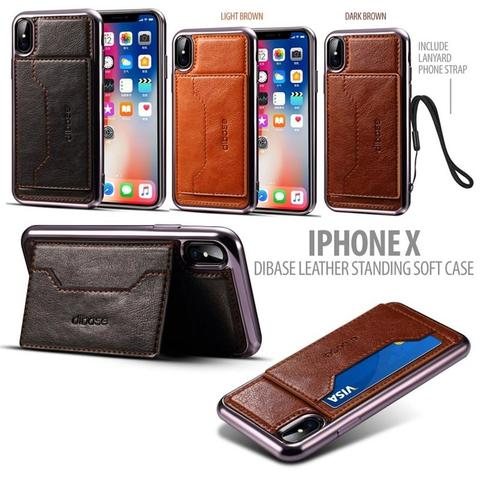 Aksesoris Iphone X - DIBASE Hand Stitched Leather Soft Case