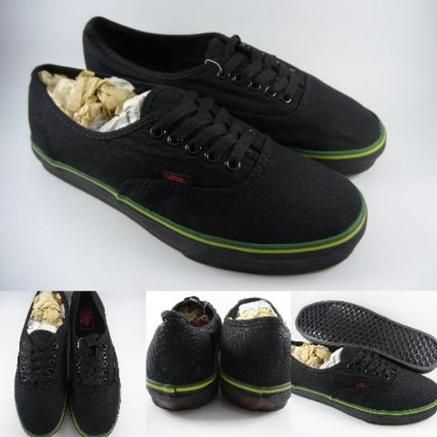 afe5228656 Sepatu Kets Vans Authentic Hemp Pack Rasta Full Black Line Green Hitam  Premium ICC