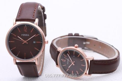 Jam Tangan Fossil Couple SK2700 Leather Brown Rose Brown