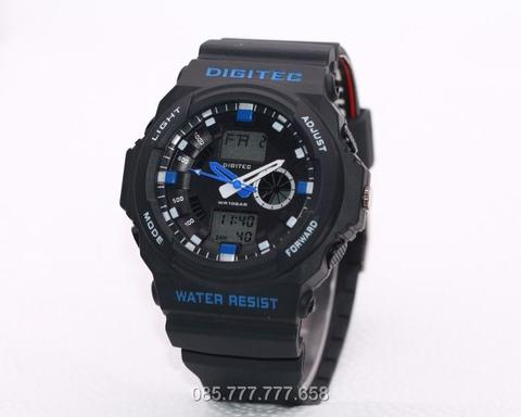 Jam Tangan Pria Digitec Original Man 5066 Rubber Black List Blue