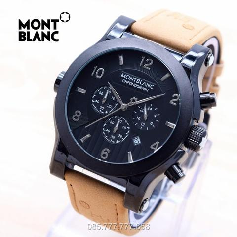Jam Tangan Pria Montblanc Chrono ON Leather Light Brown Ring Black