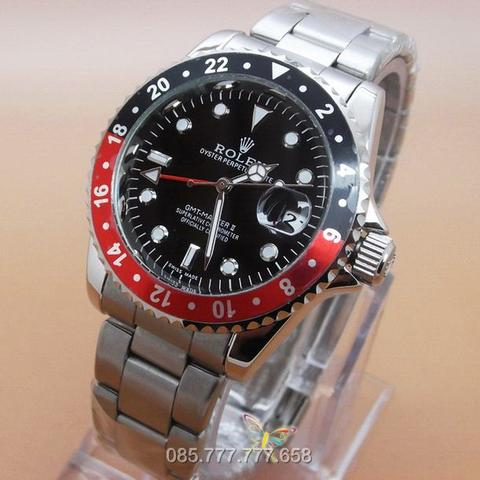 ROLEX GMT MASTER II DATE SILVER RING BLACK RED