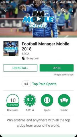 Football Manager Mobile 2018 ( FMM 2018 ) Android ORIGINAL HEMAT