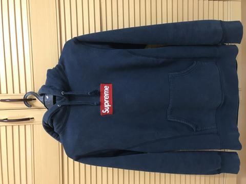 Hoodie Supreme Box Logo Navy FW13 Like New 100% Legit Original Bape Off white