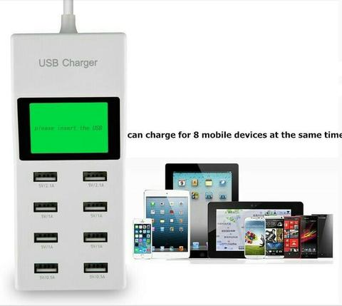 Charger 8 usb with led screen fast charge bisa 8 gadget Langsung | 2A