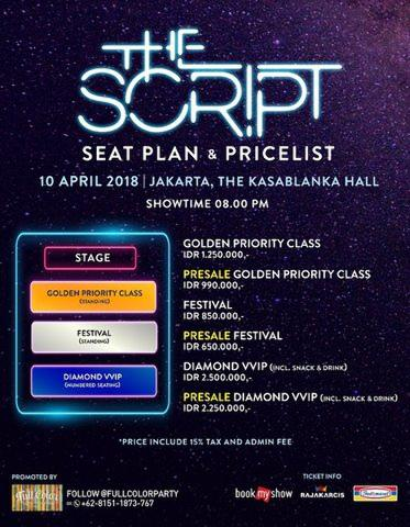 2 TIKET THE SCRIPT LIVE IN JAKARTA - GOLDEN PRIORITY CLASS