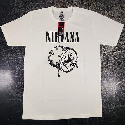 Kaos Band Nirvana Drum Putih