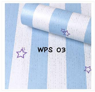 Wallpaper Dinding Uk. 10m Motif White Blue List and Stars