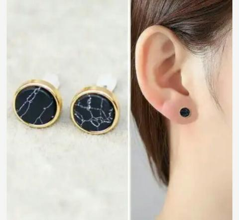 Anting Tusuk Minimalist Geometry Marble