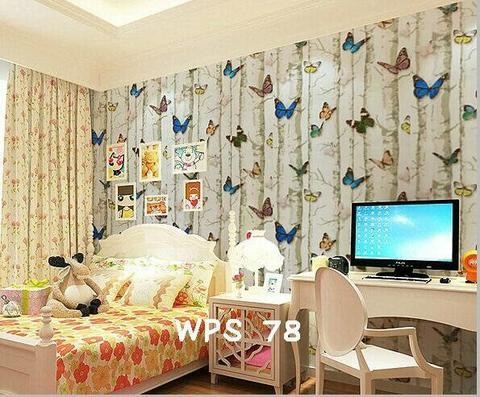 Wallpaper Dinding Uk. 10m Motif Butterfly