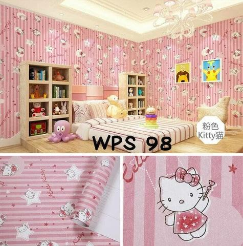 Wallpaper Dinding Uk. 10m Motif Pinky Hellokitty