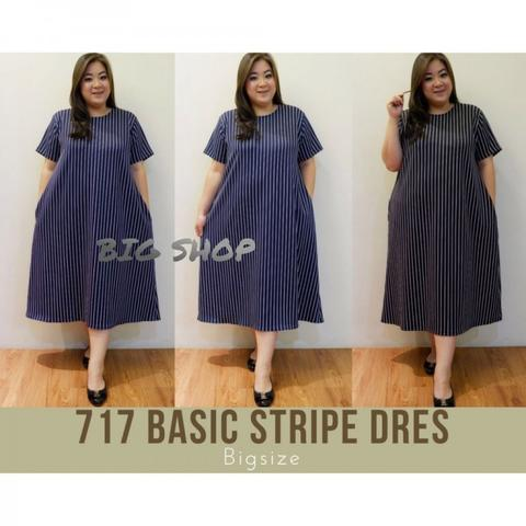 BAJU BIGSIZE MURAH - DRESS BASIC STRIPE CATHREEN JUMBO (717-01-BS)