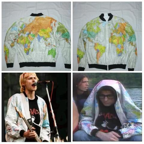 jacket vintage kurt cobain Dupont tyvek world map made in Usa