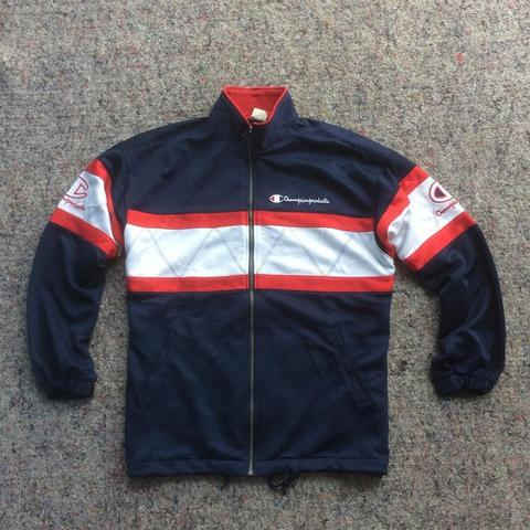 CHAMPION TRACK JACKET VINTAGE 90s WEAR NAVY WHITE RED