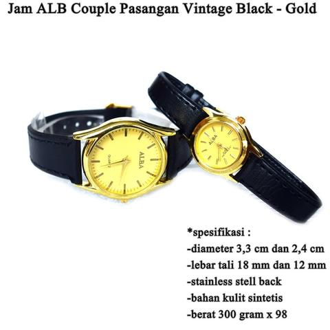 jam tangan Pasangan ALB Vintage Couple BLACK GOLD