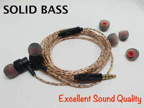 DIY Metal Solid Bass Earphone HIFI Headset With Microphone High Value