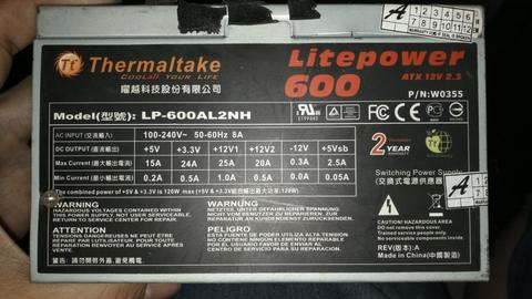 PSU thermaltake Lite power 600watt pure