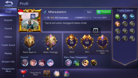 Akun ML sultan (login ios)