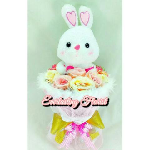 Bucket Bunny (B010) Buket Bunga Boneka Kelinci Bouquet Wedding Wisuda Engaged Kado