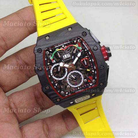 Jam Tangan Richard Mille RM 50 03 McLaren F1 Carbon Yellow Rubber Strap