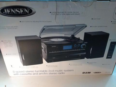 Jensen JTA-980 3-Speed Turntable 2-CD System with Cassette and AM/FM Stereo Radio