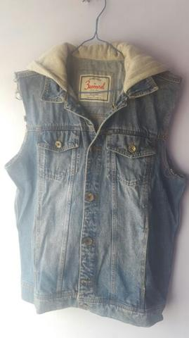 Jaket Denim Vest Hoodie 3Second Original