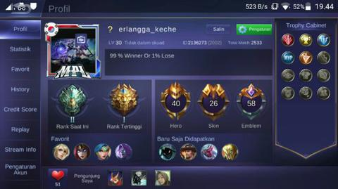 Akun Mobile Legends Spesial S2 - S7