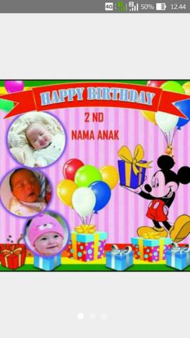 Banner Ulang Tahun Motif Micky Mouse Motif Lain Bisa Request