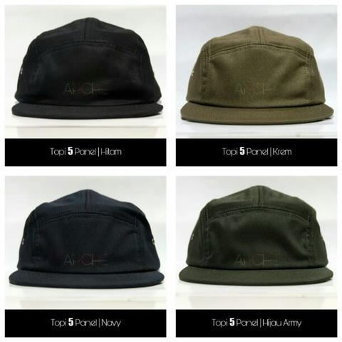 Topi 5 Panel bahan Cotton Twill