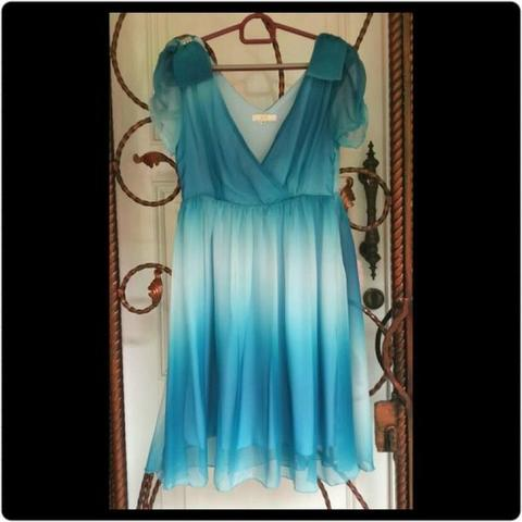 Blue Chiffon Midi Dress Biru Chiffon Gradasi Preloved
