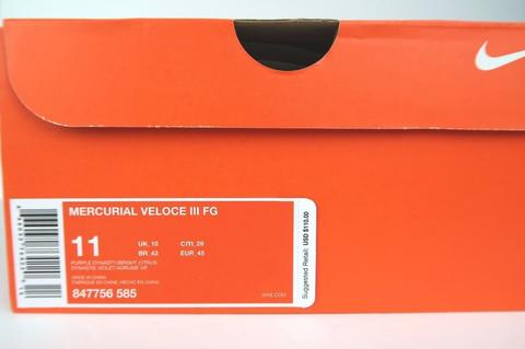 Nike Mercurial Veloce 3 FG Soccer Cleats no 11 Purple Dynasty Citrus